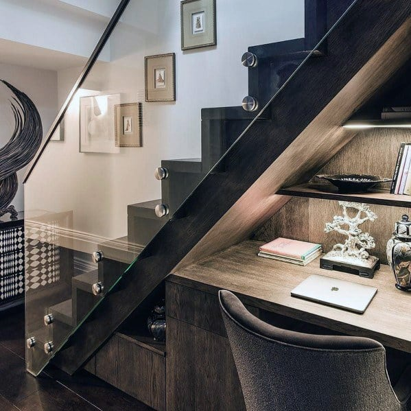 Under Stairs Modern Built In Desk Ideas