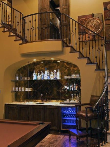 Under Stairs Rustic Home Wet Bar Ideas