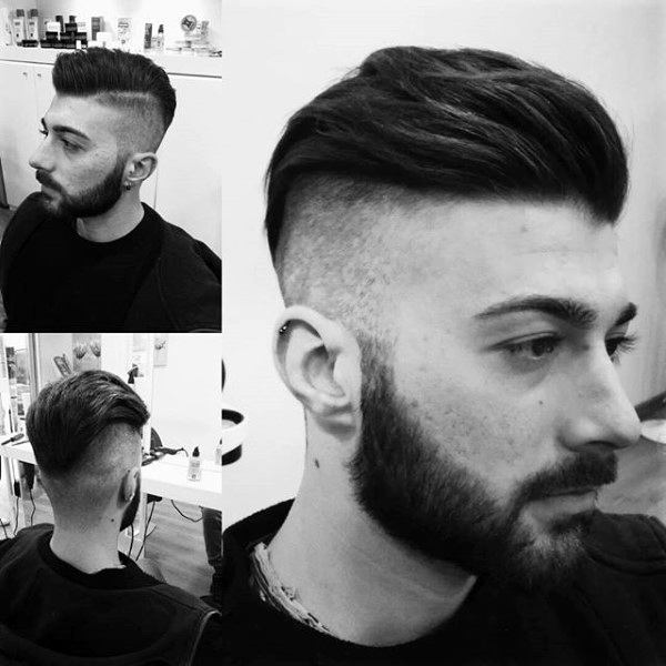 Undercut Shaved Sides Mens Pompadour Hairstyle