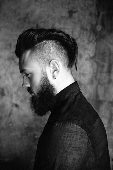 Undercut With Beard Mens Medium Hairstyles