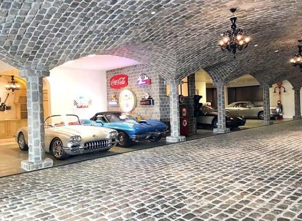 Underground Dream Garage With Stone Ceiling And Flooring