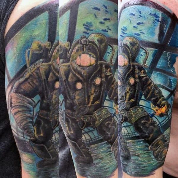 Underwater Bioshock Mens Half Sleeve Tattoo Designs