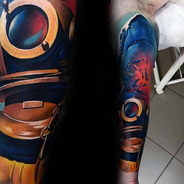 Underwater Colorful Diver Helmet With Shark Extreme Mens Full Arm Sleeve Tattoo