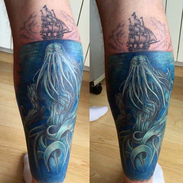 Underwater Cthulhu And Saiing Ship Mens Leg Sleeve Tattoo