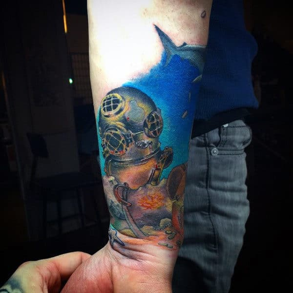 Underwater Diving Mask Tattoo For Men On Wrist