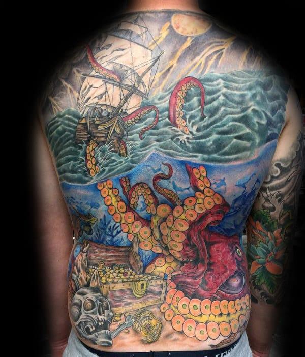 Underwater Guys Deep Sea Kraken Full Back Tattoos