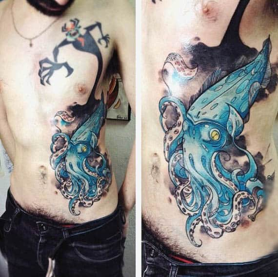 Underwater Mens Squid Ink Tattoo On Rib Cage Side In Blue