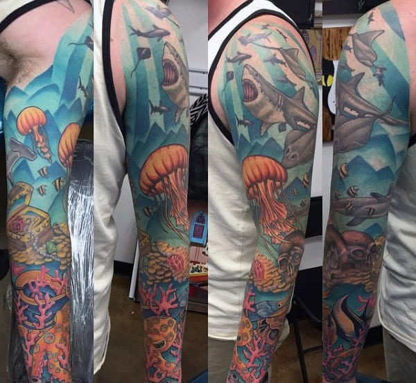 Underwater Ocean Male Coral Reef Sleeve Tattoos