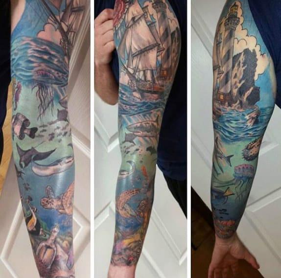 Underwater Ocean Mens Lighthouse Tattoo Design