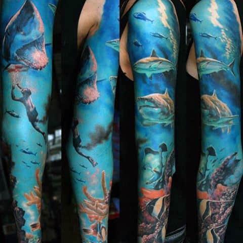 Underwater Ocean Unique Watercolor Blue Ink Mens Sleeve Tattoos