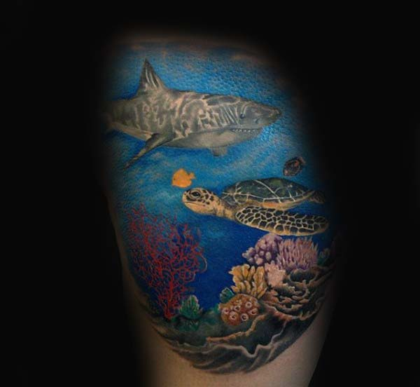 Underwater Scene Of Ocean Male Turtle Tattoo On Thigh