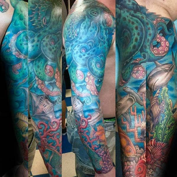 Underwater Sea Life Mens Ocean Themed Sleeve Tattoo On Arm
