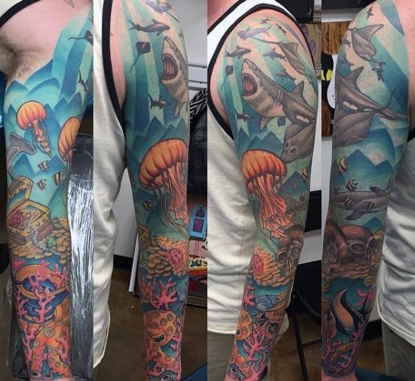 Underwater Themed Mens Treasure Chest Full Sleeve Tattoos