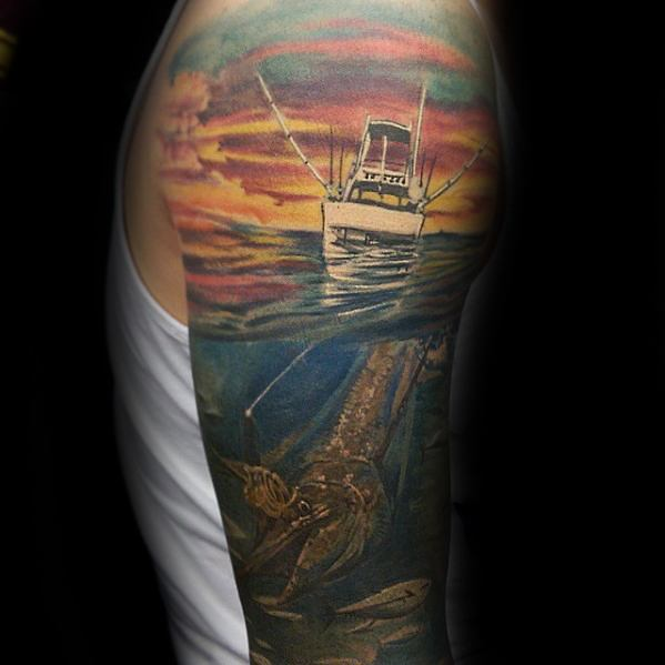 Underwater With Boat Half Sleeve Masculine Marlin Tattoos For Men