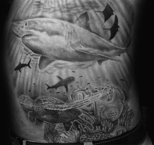 Underwaterc Ocean Mens Turtle And Shark Side Tattoos