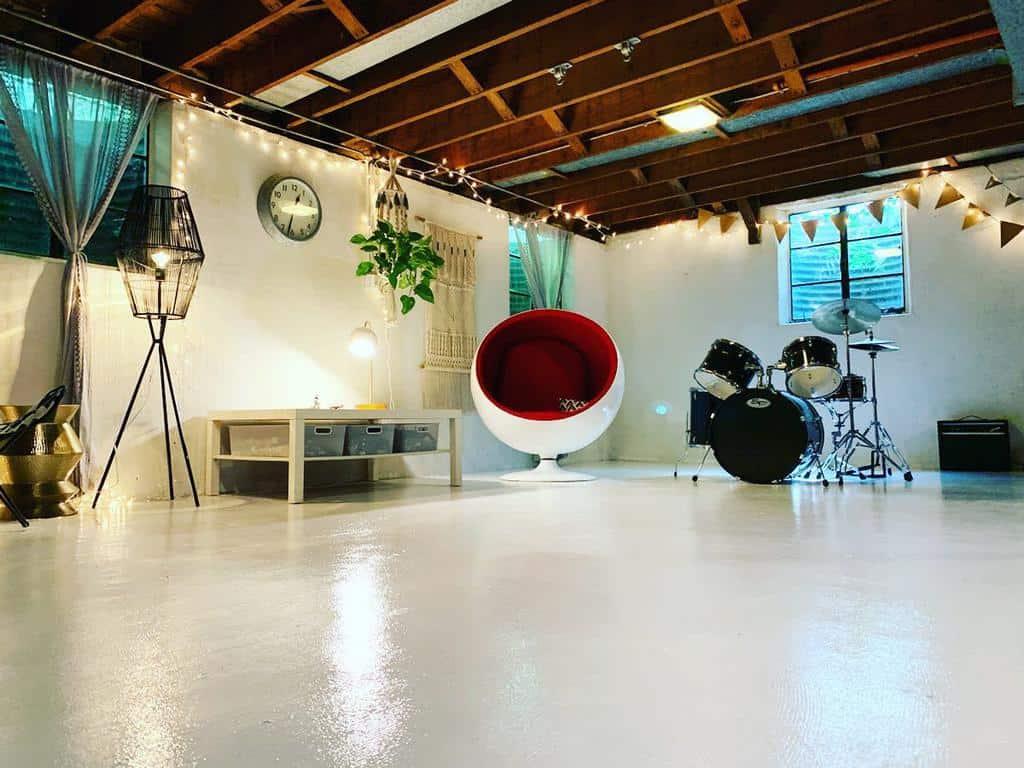 unfinished basement floor ideas minimalist.ish