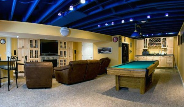 Unfinished Painted Blue Basement Ceiling Ideas