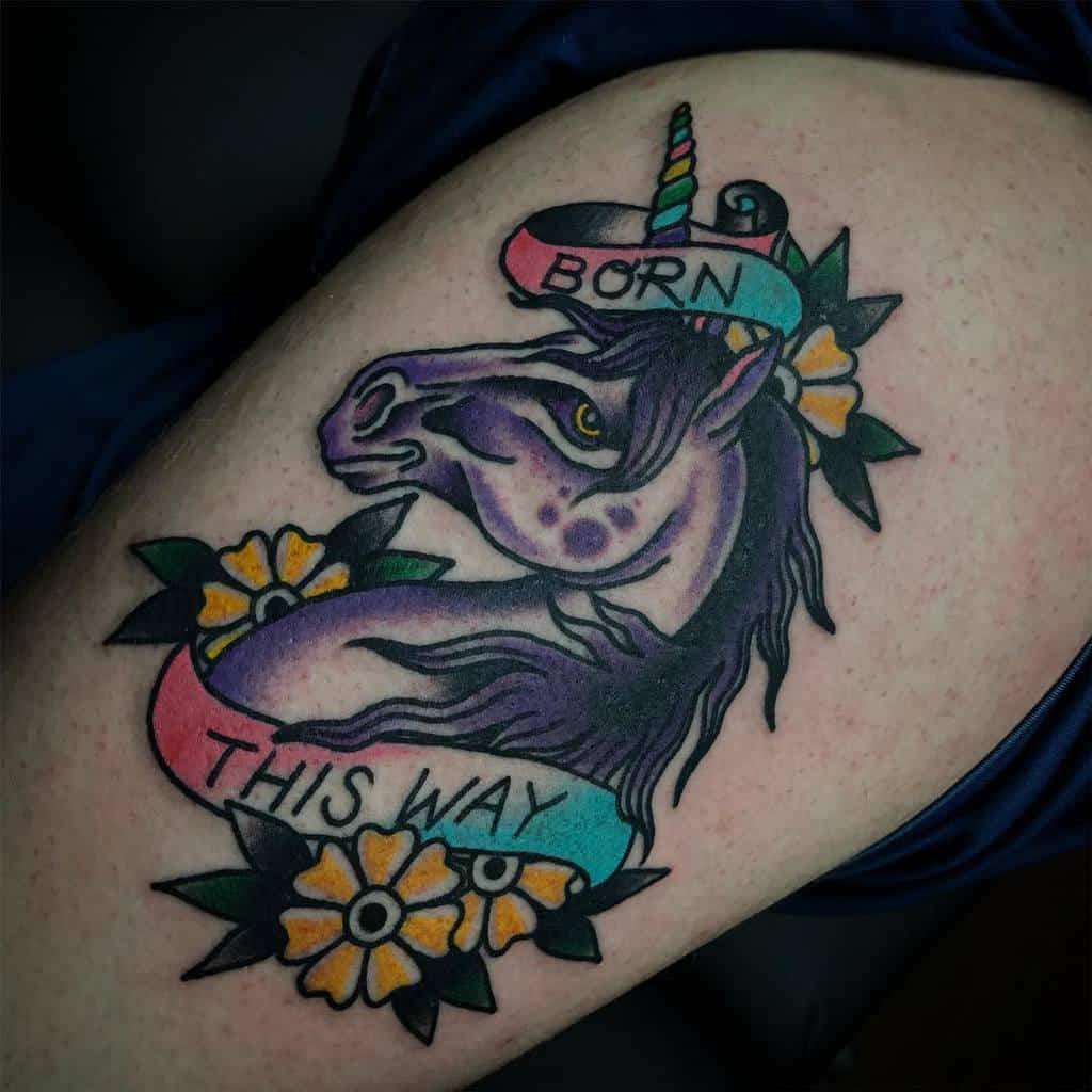 Unicorn Born This Way Tattoos Heatherlawtattooer