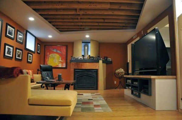 Unifinished Exposed Beams With Drywall Basement Ceilings