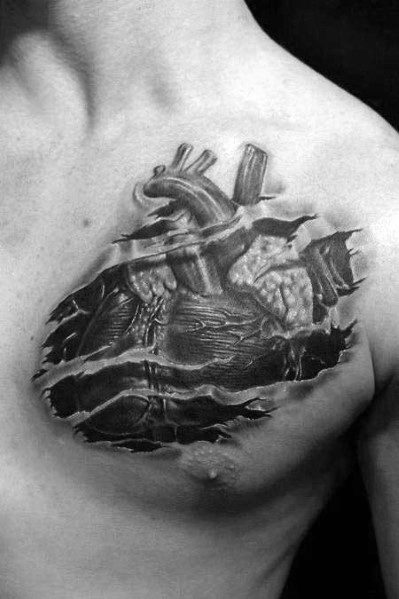 Unique 3d Heart Tattoos For Men Black And Grey Chest