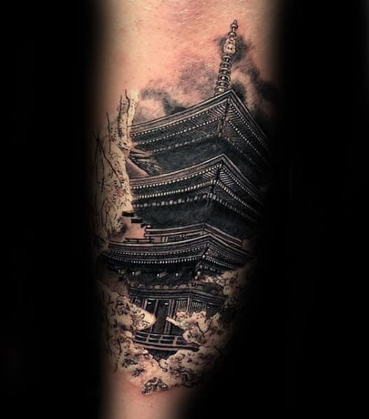 Unique 3d Japanese Temple Outer Forearm Tattoo Ideas For Men