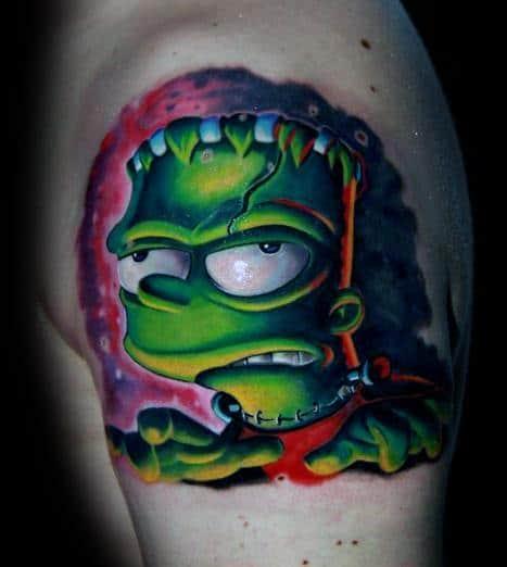 Unique 3d New School Mens Bart Simpson Zombie Upper Arm Tattoos