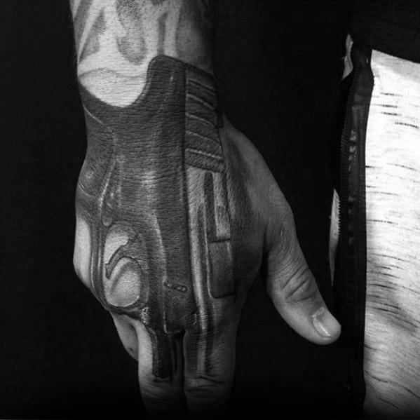 Unique 3d Pistol Guys Hand Tattoo