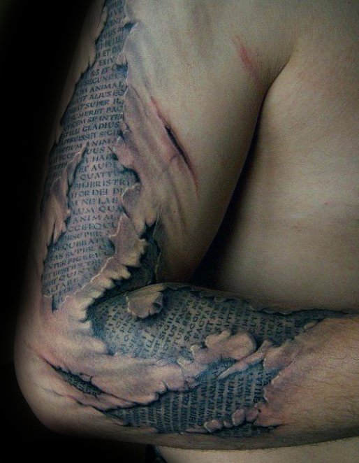 Unique 3d Ripped Skin Quote Half Sleeve Realistic Mens Latin Tattoos