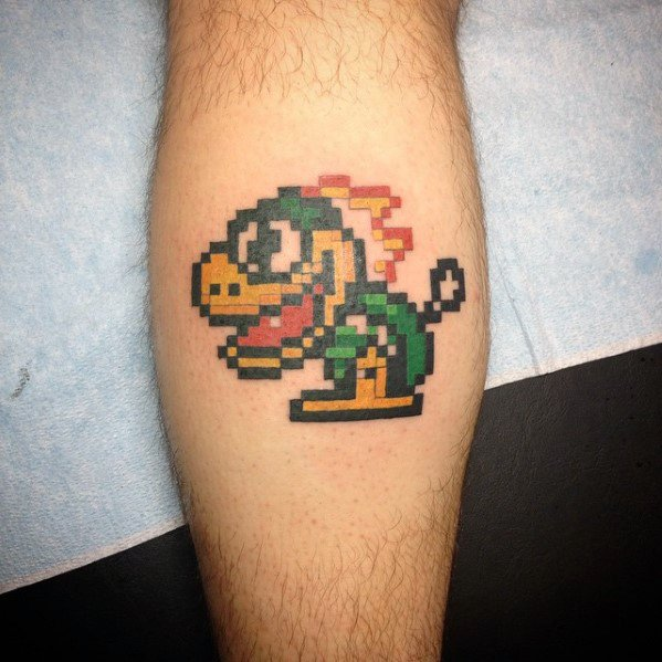 Unique 8 Bit Video Game Leg Calf Tattoos For Men