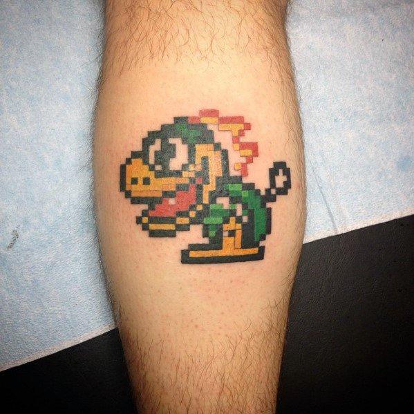 Unique 8 Bit Video Game Leg Calf Tattoos For Men