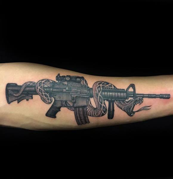 Unique Ar 15 Tattoos For Men With Snake