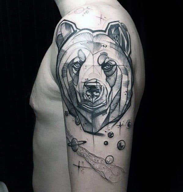 Unique Arm Artistic Sketched Bear Male Tattoos