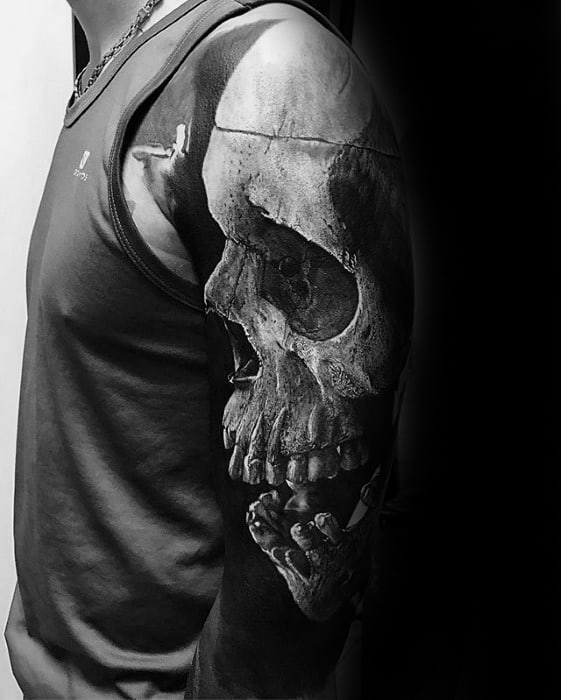 Unique Arm Half Sleeve Mens 3d Skull Tattoo