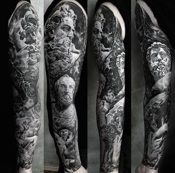 Unique Arm Mens Greek Gods Themed Full Sleeve Tattoo Ideas