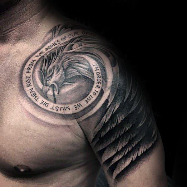 Unique Arm Phoneix Feather Tattoo Design For Men