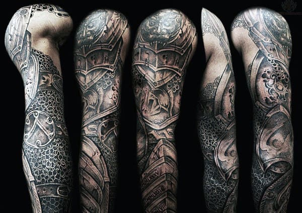 Unique Armor Plate Mens Full Sleeve Tattoos