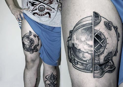 Unique Astronaut Gear Tattoo On Thighs For Men