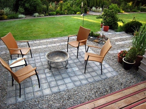 Unique Backyard Small Simple Gravel Patio Designs