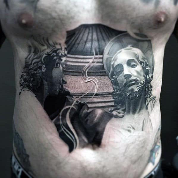 Unique Badass Guys Shaded Black And Grey Tattoo Design On Chest