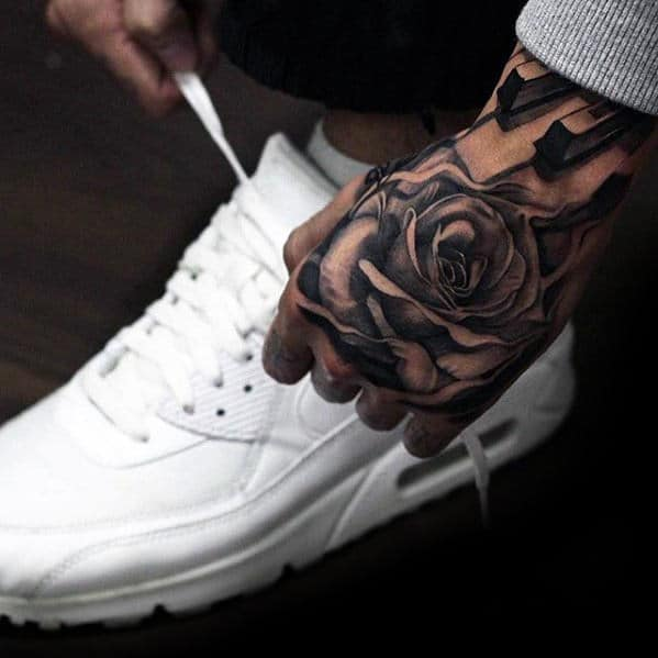 Unique Badass Rose Flower Male Hand Tattoos