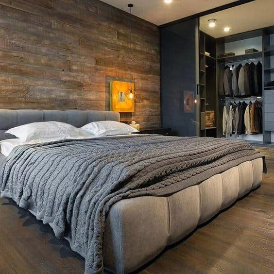 Unique Bedroom With Attached Open Closet Door Design