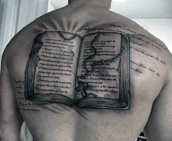 Unique Bible With Rosary Male Back Tattoos
