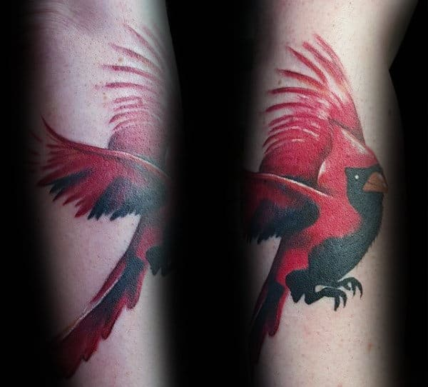 Unique Black And Red Cardinal Bird Flying Male Arm Tattoos