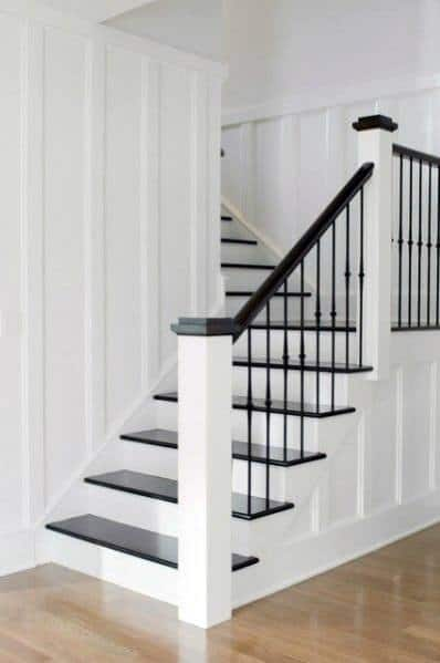 Unique Black And White Traditional Updated Home Painted Staircase
