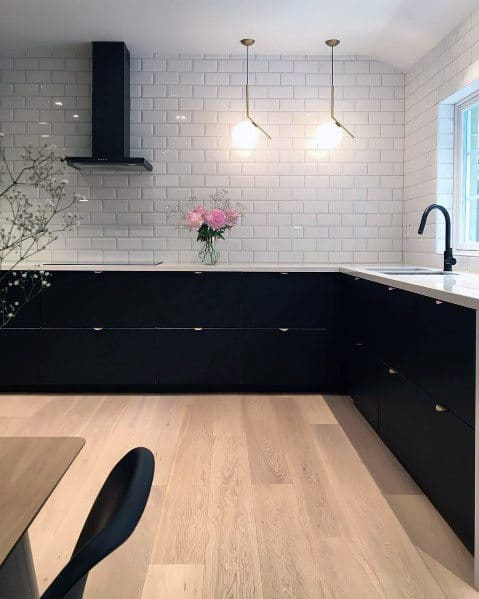 Unique Black Kitchen Cabinet Designs With White Subway Tile Backsplash