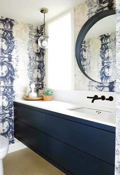 Unique Blue Bathroom Vanity With White Quartz Countertops