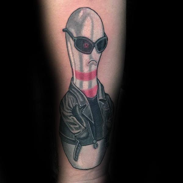 Unique Bowling Pin With Leather Jacket And Sunglasses Mens Tattoo
