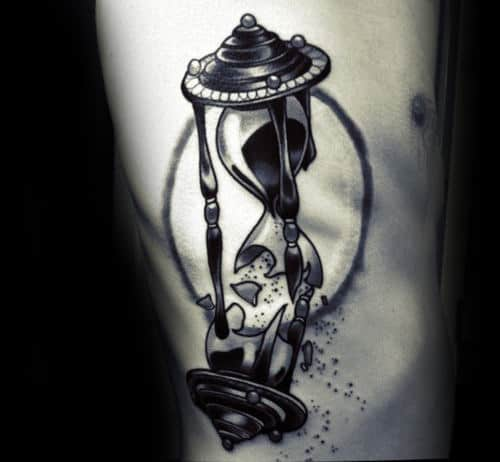 Unique Broken Hourglass Male Rib Cage Side Tattoos