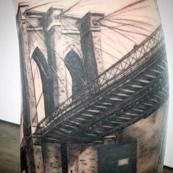 Unique Brooklyn Bridge Tattoo Ideas For Males