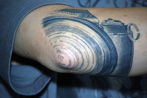 Unique Camera Drawing Tattoo Male Elbow
